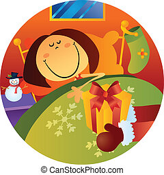 Christmas Night - cartoon illustration of christmas night...