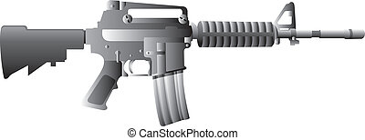 M16 Gun - vector illustration of M16 rifle for your weapon...