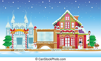 Santa House and Ice Castle - cartoon illustration of santa...