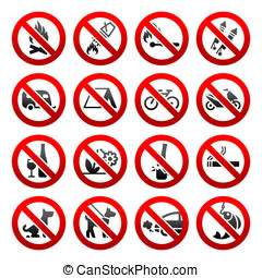 Set icons Prohibited signs Nature symbols