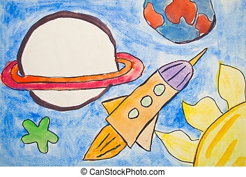 Kid's, painting, universe, planets, stars