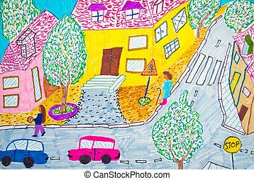 Pre-school kids painting