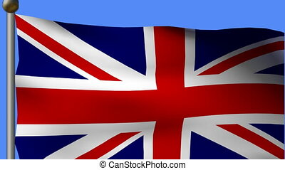 flag of great britain on pole on a blue sky background.