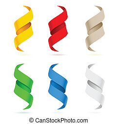 Many beautiful colored ribbons Illustration on white...