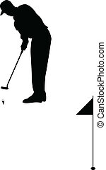 Golf player silhouette - vector