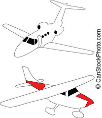 Small light airplanes - vector
