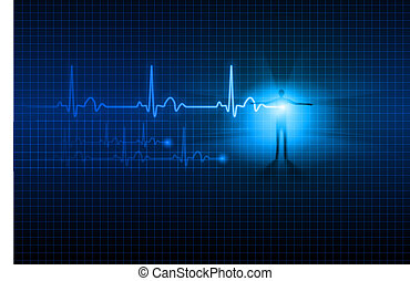 Abstract ECG - Abstract Medical background. ECG....