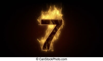 Fiery number seven burning in loop