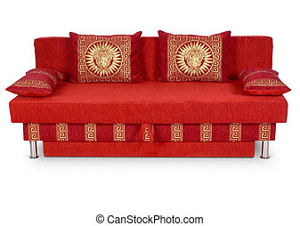 red sofa isolated on white