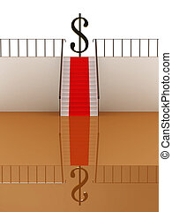 Stairway with red carpet to the money. 3D image