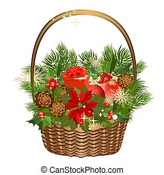 Gift basket with flowers and Christmas toys