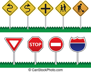 Road Signs - Various Road Signs including curves ahead,...