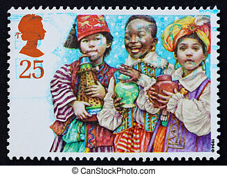 Postage stamp GB 1994 Mary and Joseph with infant Jesus -...
