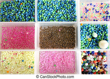 Beads - Box with shiny colorful beads