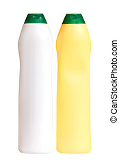 Plastic white and yellow bottles isolated on the white...