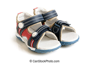 Childs sandals on a white background