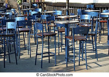 Empty Tables - Empty tables at an outdoor cafe