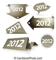 Vector golden 2012 Labels, stickers, pointers