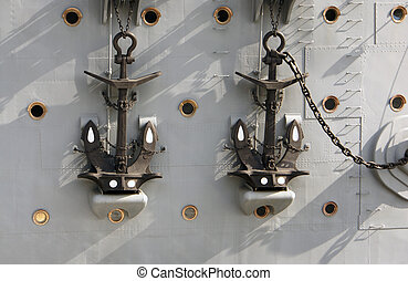 "Two anchors of cruiser ""Aurora"""