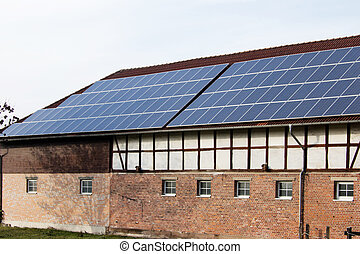 Solar cells - Panels of solar cells on a roof