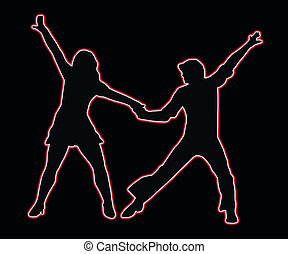 Lets Party Dancing 70s Neon Outline Couple - Lets Party 70s...