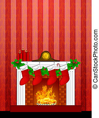 Fireplace Christmas Decoration wth Stockings and Wallpaper -...