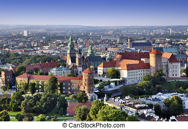 Wawel Castle - Cracow skyline with aerial view of historic...