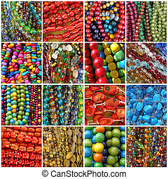 beads collage  - composition with colorful beadwork, Poland