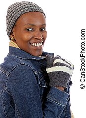 Winter Wear African Woman - Lovely smiling African lady in...