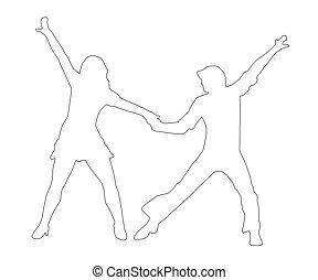Outline Dancing Couple 70s - Outline Dancing Couple...