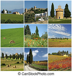 tuscan scenery collage - collage with idyllic tuscan...