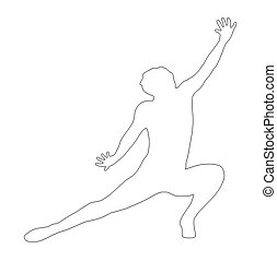Outline Dancing Lady Kneeling Spread Leg Pose Silhouette