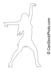 Outline Dancing Girl Spread Arms Pose - Outline Dancing Girl...