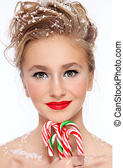 Girl with candy canes