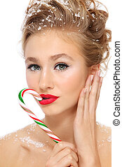 Girl with candy cane
