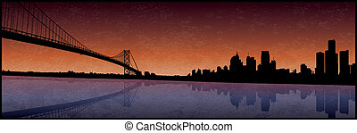 Detroit Michigan - A grunge silhouette of the Detroit...