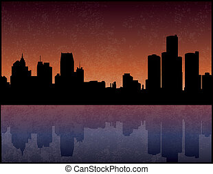 Detroit Michigan - A grunge silhouette of the downtown...