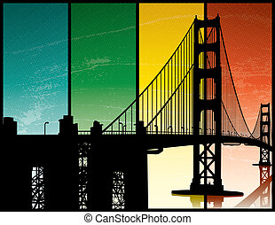Golden Gate Bridge - A silhouette of the Golden Gate Bridge...