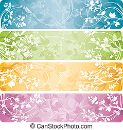 Spring Banners - 4 variations of spring banners