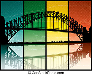 Sydney Harbour Bridge - A silhouette of the Sydney Harbour...