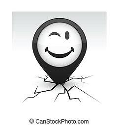 Smiley black icon in crack.