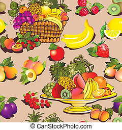 Fruit and berries. - Seamless pattern of fruit and berries....