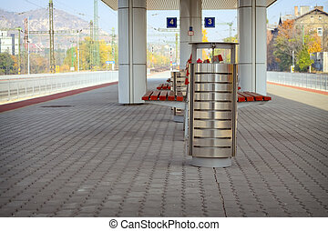 Litter bin - Metal trash can on a railway station