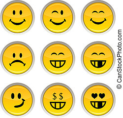 Smiley icons. - Smiley glossy icons. Vector buttons.
