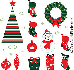 Retro elements for christmas evening Vector cartoon...