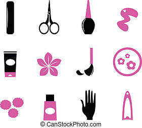 Manicure icons isolated on white wild pink and black -...