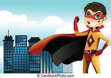 Superhero - A vector illustration of a superhero boy in the...