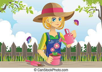 Gardening woman - A vector illustration of a woman doing...