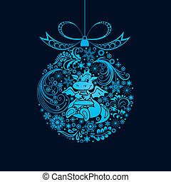 Christmas ball. - Christmas toy with a dragon. Vector...