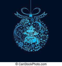 Christmas ball. - Christmas toy with a dragon. Vector...